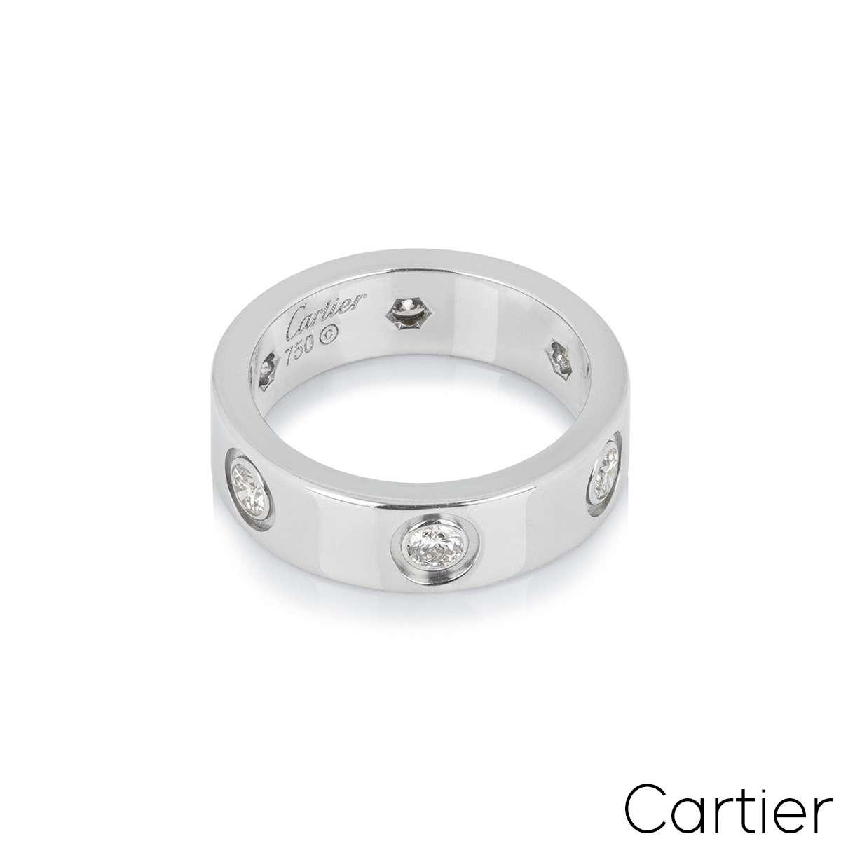 Cartier White Gold Full Diamond Love Ring Size 55 B4026000